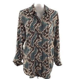 Topshop Mensy Snake Print Button Front Long Sleeve
